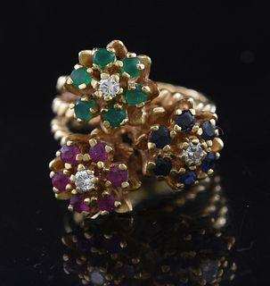 14K gold floral ring