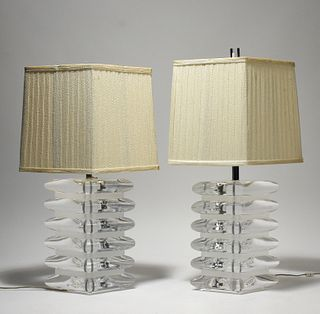 Pair of mid-century lucite table lamps