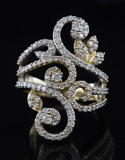 18K yellow gold and diamond floral ring