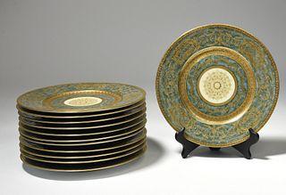Set of 12 dinner plates marked Black Knight