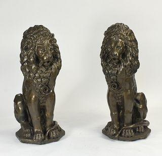 Impressive pair of large stone lions