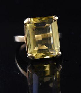 14k gold & emerald cut citrine ring