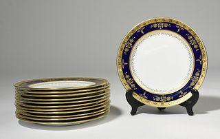 Set of twelve fine porcelain dinner plates Minton for Tiffany and Co.
