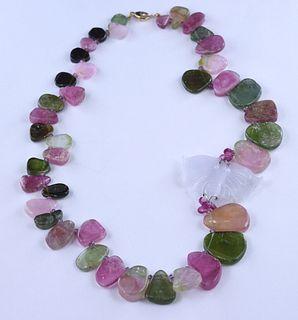 Necklace set w/ tourmaline & quartz