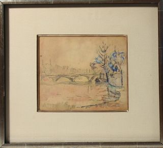 Graphite & watercolor sketch on paper signed P. Signac