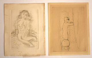 Raoul Dufy etching with a Pierre Bonnard etching