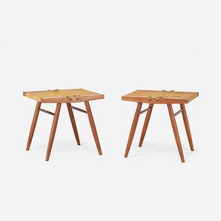 George Nakashima, Grass-Seated stools, pair