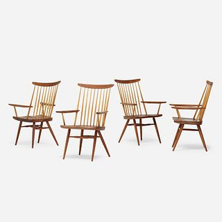 George Nakashima, New Chairs with Arms, set of four