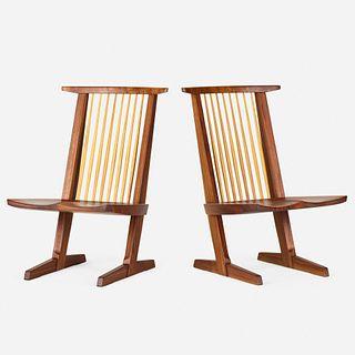 Mira Nakashima, Conoid Lounge Chairs, pair