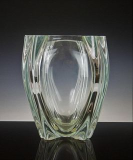 LARGE HEAVY CLEAR MURANO OGGETTI CRYSTAL VASE