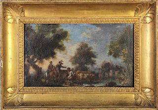 18th Century European Landscape, Oil on Canvas