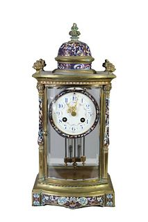 French Champleve Mantle Clock Circa 1860