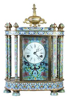 Large Chinese Cloisonne Enamel Mantle Clock