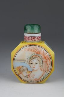 European Subject, Chinese Enameled Snuff Bottle
