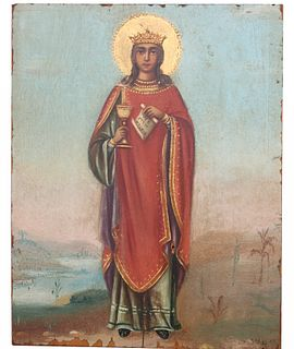 "Exhibited Russian Icon, ""The Great Martyr Barbara"""