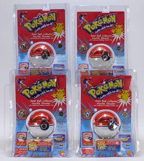 4 Toy Biz Pokemon 1st Ed. Poke Ball Marble Shooter
