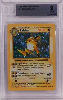 1999 Pokemon Base Shadowless Raichu BGS 9 Card