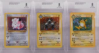 3PC Pokemon Base Shadowless BGS 8 Holo Card Group