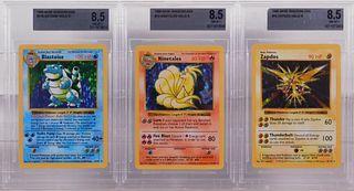 3PC Pokemon Base Shadowless BGS 8.5 TCG Card Group