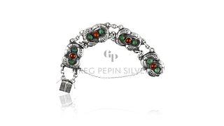 Antique Georg Jensen Bracelet 1 Amber & Green Agates