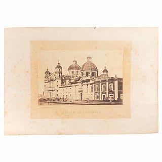 """Michaud, Julio. Guadalupe Cathedral. Mexico: Julio Michaud Editor, ca. 1860 - 1870. Albumen photograph, 5.9 x 9"""" (15.2x23cm)"""