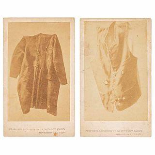 Aubert, François. Maximilian's vest and frock coat after his execution. Paris, ca. 1867. Carte de Visite. Pieces: 2