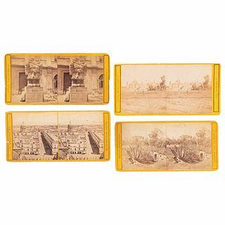 Briquet, Abel. Mexico City / Chapultepec Castle / Sanctuary of Guadalupe. Méx, 1880-1890. Stereoscopic photographs. Pieces:4.