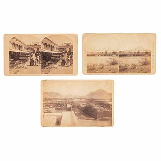 Jackson, William Henry. Views of the city of Chihuahua. Denver, Colorado, 1880. Cabinet photograph and two stereotopic photographs.