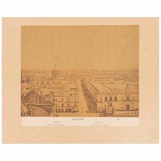 "Briquet, Abel. Mexique. Mexico, Panoramic view. Mexico, ca.1887. Albumen photograph, 7.7 x 9.9"" (19.6x25.2 cm). On cardboard."