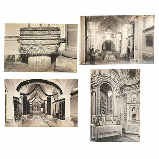 """Kahlo, Guillermo. Cholula, Puebla. Photographs in silver on gelatin, platinum toned on paper on canvas, 10.7 x 13.6"""" (27.3X34.6 cm). Pieces:4"""