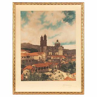 """Brehme, Hugo. View of Taxco. Mexico, 1920. Color photograph, 13.3 x 10.4"""" (34 x 26.5 cm), on cardboard; signed"""