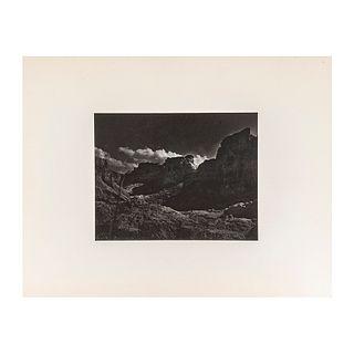 "Salas Portugal, Armando. Landscape at Night. México. Black and white photograph, 6.6 x 9.4"" (17 x 24 cm). On paper. Propietor seal."