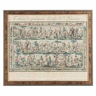 """Grasset de Saint Sauveur, Jacques. Tableau des Principaux Peuples de l'Amérique. Paris, 1798. Engraving 16.1 x 19.4"""" (41x49.5cm). Framed."""