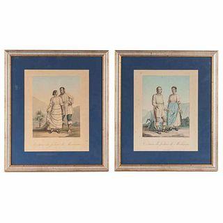 """Humboldt, Alejandro de. Costumes des Indiens de Mechoacan. Paris, 1813. Color lithographs. 11.2 x 8.8"""" (28.5 x 22.5 cm). Pieces: 2."""