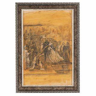 """Desembarco de Maximiliano en el Puerto de Veracruz. Mexico, late 19th century. Charcoal on paper, 22.5 x 8.2"""" (32.5 x 21 cm). Framed"""