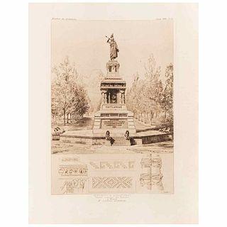 """Garen, Georges. Monument à Quauhtemoc: Dernière Empereur des Aztèques à Mexico. Paris, 1896. Engraving, 10.7 x 7.5"""" (27.4x19.2cm)."""