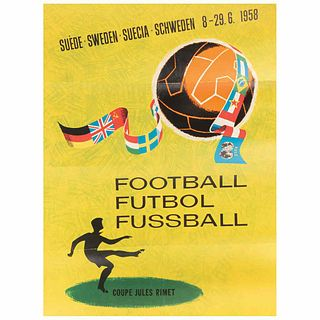 """Poster of the soccer world cup, Sweden 1958. Sweden: Ervaco-Reklam Dahlbergs Offset, 1958. 26.3 x 19.6"""" (67 x 50 cm)."""