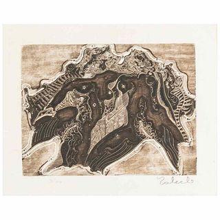 "Toledo, Francisco. Oaxaca, undated. Plaque: 5.9 x 7.8"" (15 x 20 cm). W/frame: 22.4 x 20.4"" (57 x 52 cm). Etching. Signed by author."
