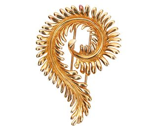 Tiffany & Co. Schlumberger Gold Feather Brooch