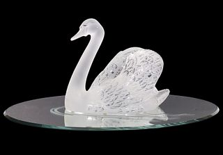 Lalique Crystal Swan on Mirror Plateau