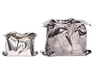 Two 925 Sterling Vavassori Bag-Form Centerpieces