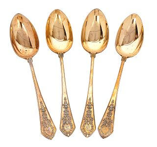 4 Faberge Russian Imperial 84 Silver Spoons