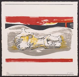 Henry Moore 'Reclining Figure with Red Strips'