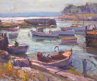Robert Gruppe 'Harbor on the North Shore' Painting