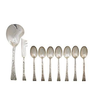 TIFFANY & CO. LAP OVER EDGE STERLING UTENSILS