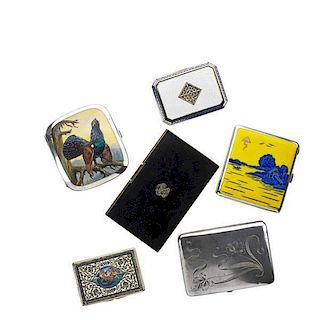 SIX CONTINENTAL SILVER CIGARETTE CASES
