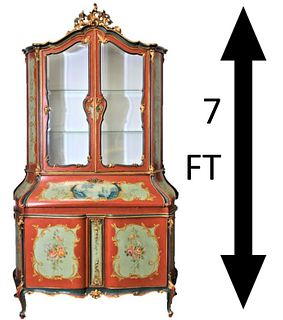 Venetian Style Secretary Gilded Chest, Glass Doors