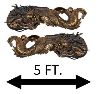 Palace Sized Pair of Wood Chinese Dragons