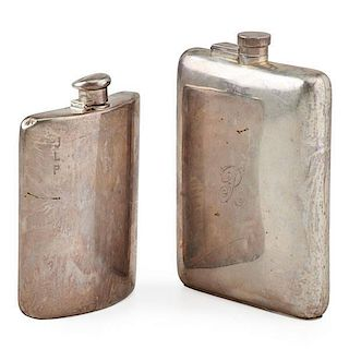 TWO STERLING HIP FLASKS