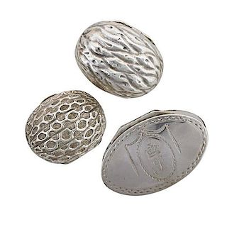 THREE ENGLISH SILVER NUTMEG GRATERS